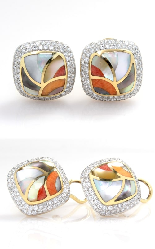 14K Yellow Gold Diamond & Multicolored Spiney Oyster Earrings product image