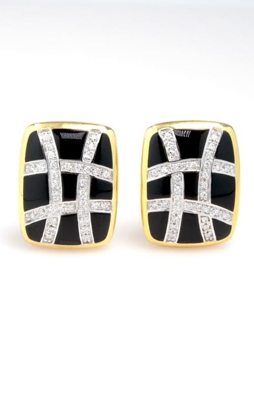 14K Yellow Gold Diamond & Onyx Earrings product image