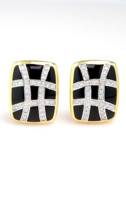 14K Yellow Gold Diamond & Onyx Earrings DGASH00315 product image