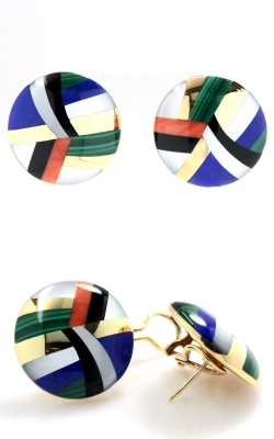 14K Yellow Gold Multi-Color Button Earrings OGASH00019 product image