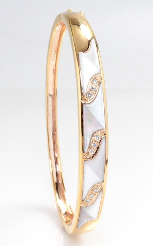 14K Rose Gold, Diamond & Mother of Pearl Bangle Bracelet product image