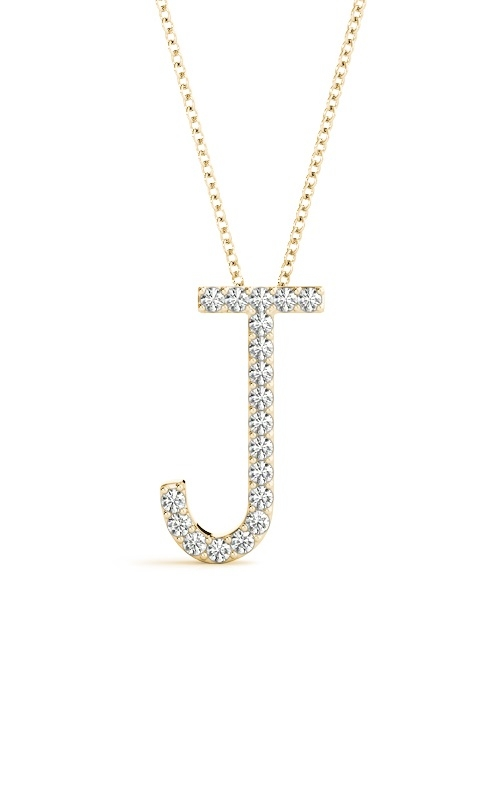 14K Diamond Initial J Pendant with 18in Cable Chain product image