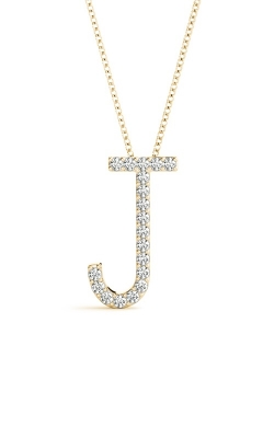 14K Yellow Gold Small Diamond Initial J Pendant With 18in 0.9mm Cable Chain product image