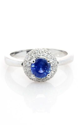 14K White Gold Diamond & Blue Sapphire Ring #CLOSE00037 product image
