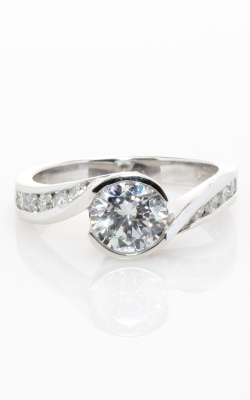 14K White Gold Sidestone Engagement Ring with Bezel Center #CLOSE00505 product image