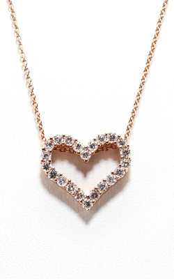 14K Rose Gold Diamond Heart Pendant With Chain, Item# DPHRT04337 product image