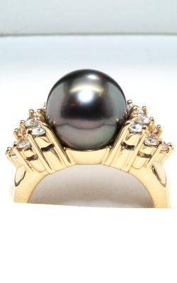 14K Yellow Gold Diamond & Tahitian Pearl Ring #DRPR00232 product image