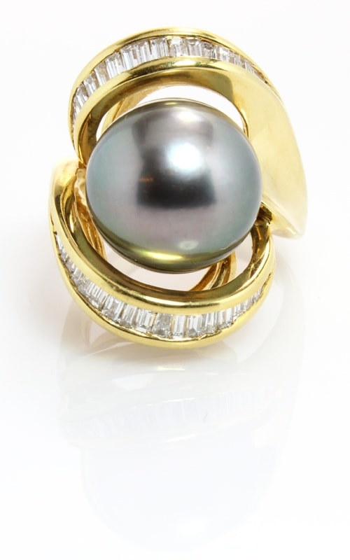 18K Diamond & Tahitian Pearl Ring #DRPR00547 product image