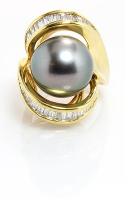 18K Yellow Gold Diamond & Tahitian Pearl Ring #DRPR00547 product image