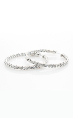 Silver CZ Hoop Earrings (Medium) #SCZGT01517 product image