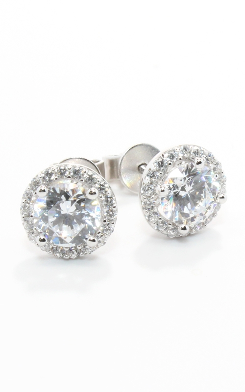 Silver Round CZ Stud Earrings #SCZGT01866 product image