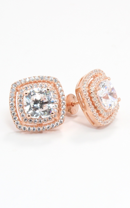 Rose Silver CZ Double Halo Stud Earrings #SCZGT01991 product image