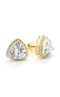 Yellow Silver Trilliant CZ Stud Earrings #SCGZT02080 product image