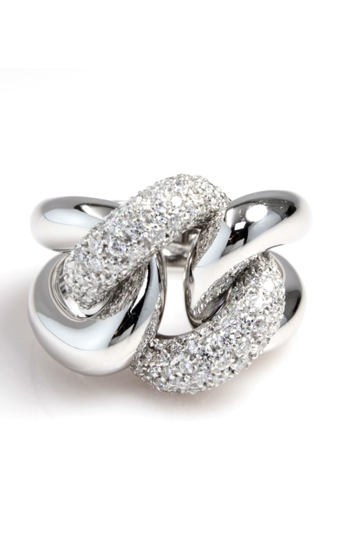 18K White Gold Pave Diamond Knot Ring product image