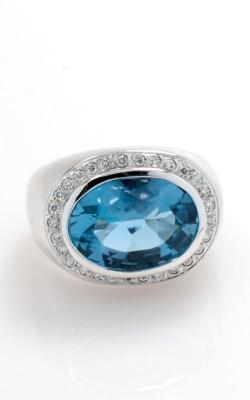 18K White Gold Oval Blue Topaz & Diamond Ring , CLOSE00679 product image