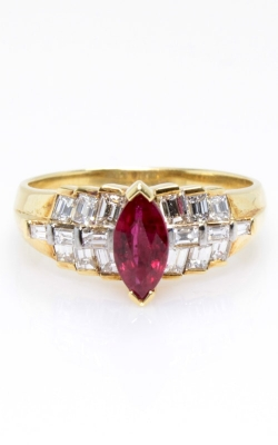 14K Yellow Gold Marquise Ruby & Baguette Diamond Ring, Item# CLOSE00752 product image