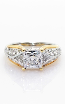 Platinum Two-Tone Sidestone Engagement Ring #CLOSE01036 product image