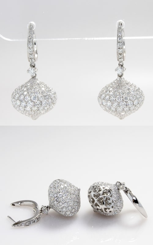 18K Diamond Hoop & Ornamental Dangle Earrings CLOSE01508 product image