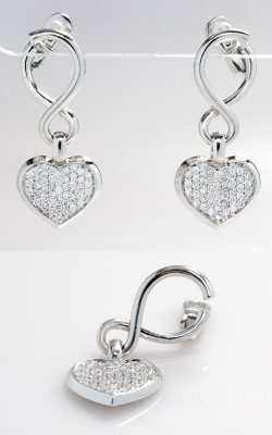 14K White Gold Diamond Heart Dangle Earrings, CLOSE01517 product image