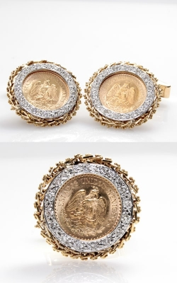 14K Gold & Diamond 1945 Mexican Dos y Medio Pesos Coin Cufflinks, DCOIN00091 product image