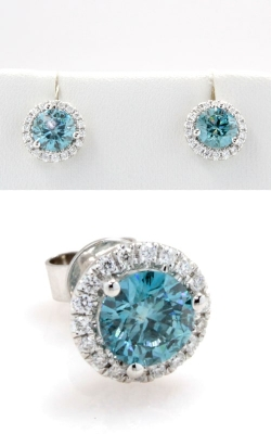 Blue Diamond Stud Earrings with Halo DERCL05407 product image