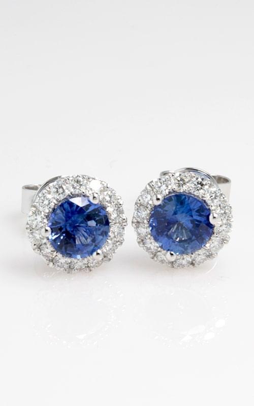 18K Two-Tone Diamond & Sapphire Stud Earrings DERP03837 product image