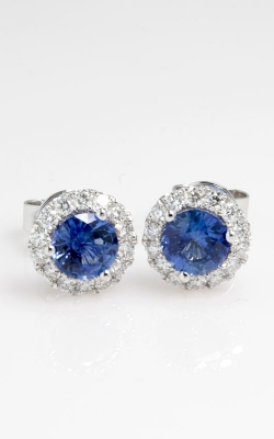 18K Two-Tone Diamond & Sapphire Stud Earrings DERP03837 product image