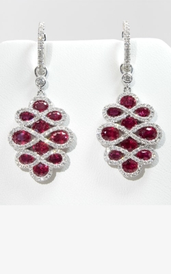 18K White Gold Diamond & Ruby Earrings, Item# DERP04809 product image