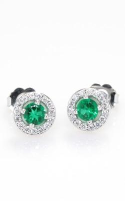 14K Diamond & Emerald Stud Earrings DERP05096 product image