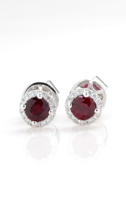 18K White Gold Diamond & Ruby Stud Earrings DERP05238 product image