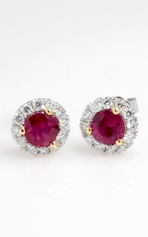 18K Diamond & Ruby Stud Earrings DERP05372 product image