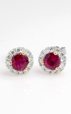 18K White Gold Diamond & Ruby Stud Earrings DERP05372 product image