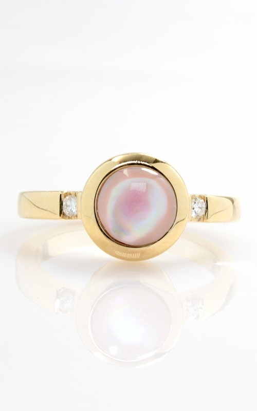 14K Pink Mother of Pearl & Diamond Ring, DINRL01376 product image