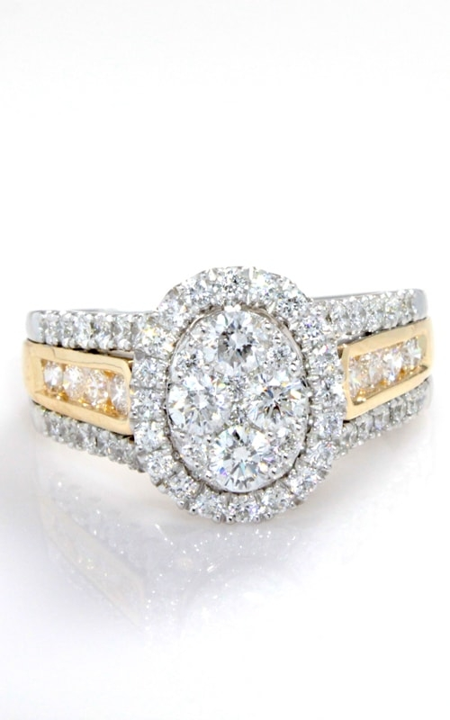 14K Two-Tone Diamond Cluster Engagement Ring DJELX01036 product image