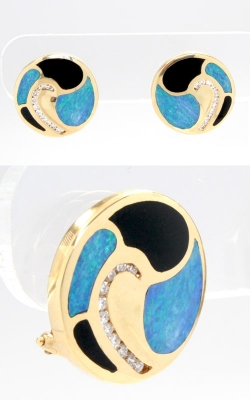 14K Yellow Gold Diamond, Opal, & Onyx Stud Earrings DJIN00513 product image