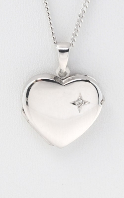 14K White Gold Diamond Accented Heart Locket, DLCKT00406 product image