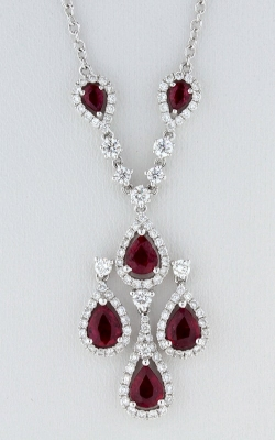 14K White Gold Diamond & Ruby Necklace, DNP00661 product image