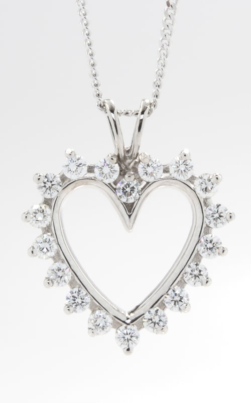 14K Open Heart Diamond Pendant, DPHRT04408 product image