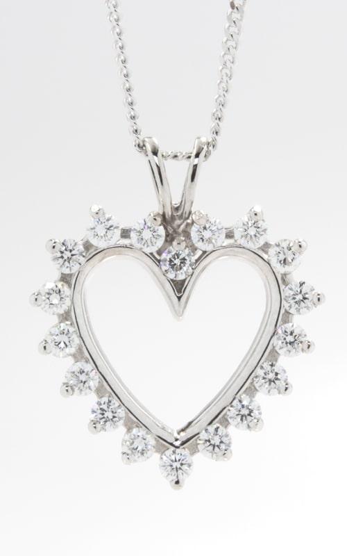 14K Open Heart Diamond Pendant, DPHRT04408 product image