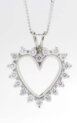 14K White Gold Open Heart Diamond Pendant, DPHRT04408 product image