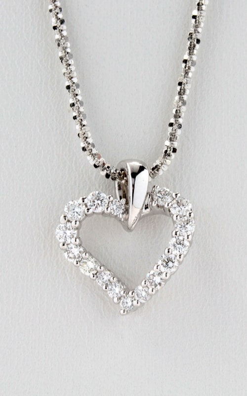14K White Gold Diamond Twisted Heart Pendant DPHRT01514 product image