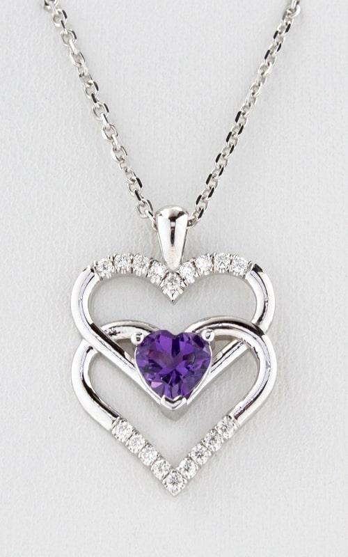 14K Diamond Double Heart Amethyst Pendant product image