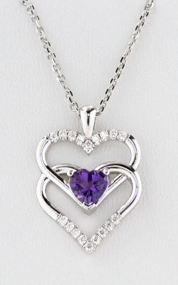 14K White Gold Diamond Double Heart Amethyst Pendant, DPHRT04569 product image