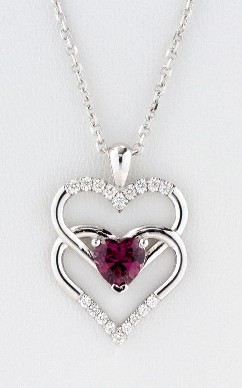 14K Diamond Double Heart Rhodolite Garnet Pendant product image