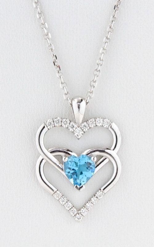 14K Diamond Double Heart Swiss Blue Topaz Pendant product image