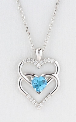 14K White Gold Diamond Double Heart Swiss Blue Topaz Pendant, DPHRT04587 product image