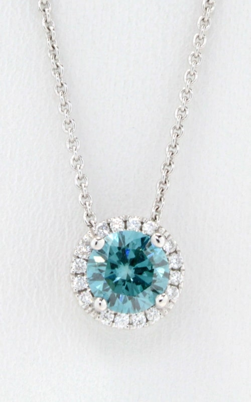 Blue Diamond with Halo 18in Necklace product image