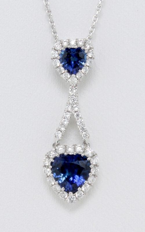 14K Diamond & Sapphire Heart Pendant #DPP05014 product image