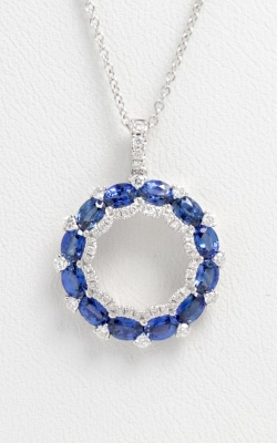18K White Gold Oval Sapphire & Diamond Circle Pendant DPP05513 product image