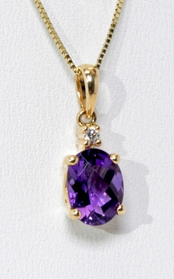 14K Yellow Gold Amethyst & Diamond Pendant, Item# DPSP07691 product image